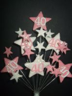 Star age 40th birthday cake topper decoration in pale pink and white - free postage